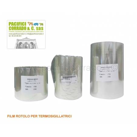 Film rotolo per termosigillatrici tipo pet/pp 12-50 mt 200 altezza cm 15