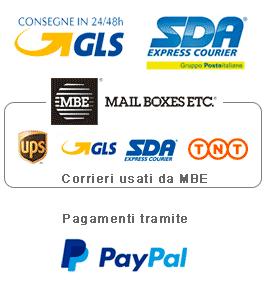 spedizioni con corriere sda, gls, mail boxes etc, pagamenti sicuri con paypal