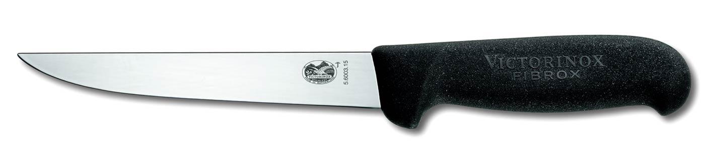 victorinox© coltello da disosso lama dritta da cm 15 manico fibrox colore nero antiscivolo