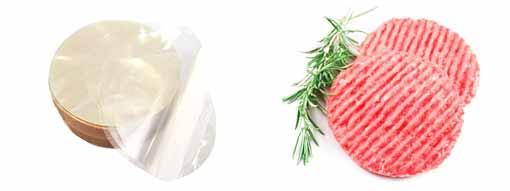 dischi per hamburger in cellophane biodegradabile